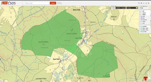 Ukázka záznamu registrace map pro MČR KT 2016 na mapovém portálu.
