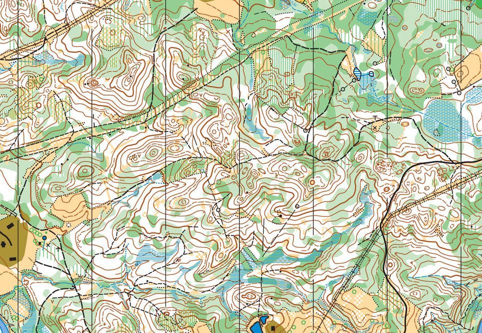 Ukázka staré mapy terénu pro krátkou trať.