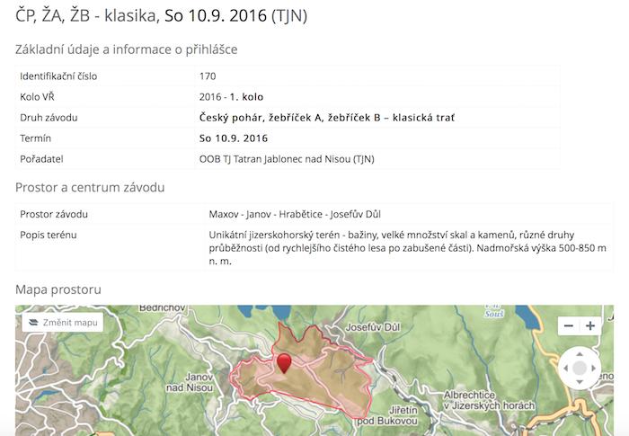 Ukázka přihlášky na závod ČP na klasické trati (TJN, 10.9.2016 v Hraběticích).
